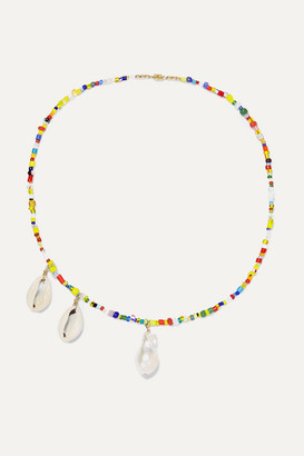 Éliou eliou - Paxi Bead, Pearl And Shell Necklace - Yellow