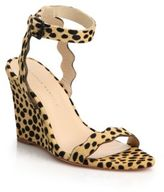 Loeffler Randall Piper Cheetah-Print Calf Hair Scallop Wedge Sandals