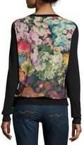 Neiman Marcus Superfine Cashmere Cardigan w/ Floral Garden Chiffon Back