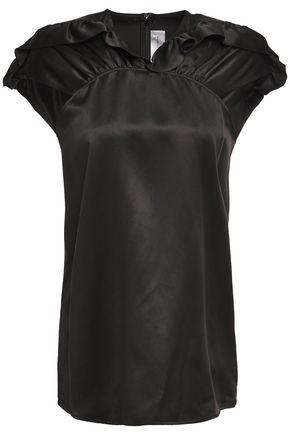 Victoria Victoria Beckham Victoria, Victoria Beckham Gathered Ruffle-trimmed Silk-satin Top