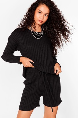 Nasty Gal Womens Knit's All About You Sweater and Shorts Set - Black