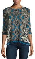Neiman Marcus Cashmere Collection Medallion Half-Sleeve Cashmere Sweater