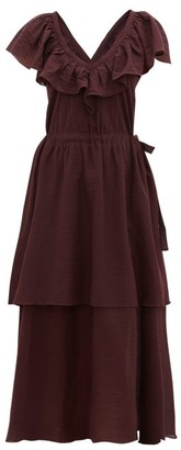Loup Charmant Kalam Ruffled Organic-cotton Dress - Dark Purple