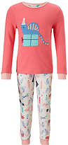 John Lewis Children's Christmas Cat Print Pyjamas, Pink