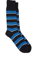 Barneys New York Men's Mixed-Stripe Mid-Calf Socks-NAVY