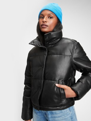 Gap Midweight Vegan Leather Cropped Puffer Jacket