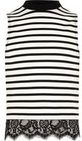 River Island Girls white stripe eyelash hem tank top