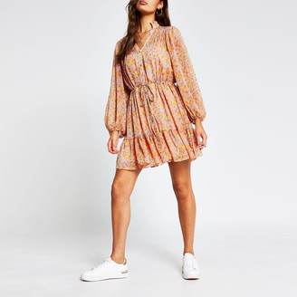 River Island Womens Pink long sleeve floral ruched mini dress