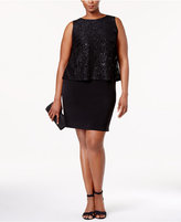 Jessica Howard Plus Size Sequined Lace Popover Dress