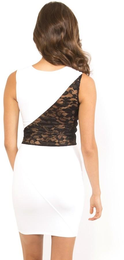 Donna Mizani Splice Lace Dress in Bright White
