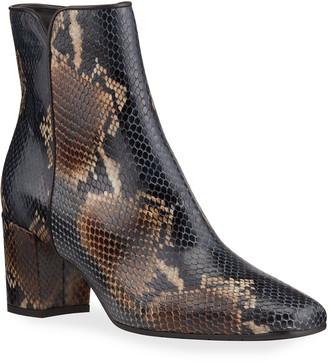 Aquatalia Denisse Snake-Print Zip Ankle Booties