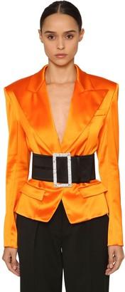 Alexandre Vauthier Single Button Satin Blazer Jacket