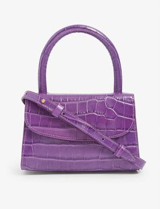 BY FAR Mini crocodile-embossed leather cross-body bag