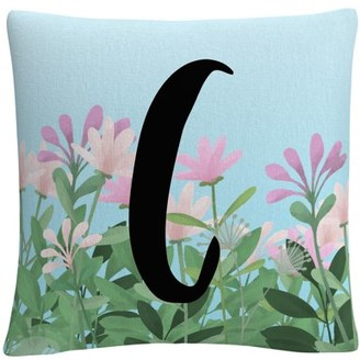 Trademark Art Pink Floral Garden Letter Illustration C By Abc 16 X 16 Decorative Throw Pillow
