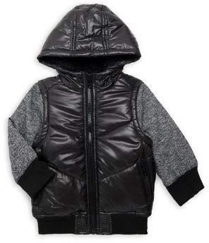 Urban Republic Boy's Hooded Mixed-Media Zip Jacket