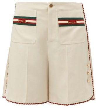 Gucci Web-stripe Slubbed-canvas Shorts - Womens - Ivory Multi