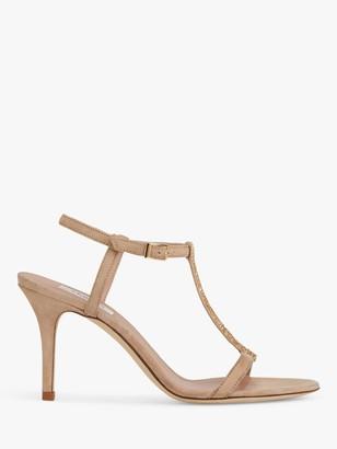 LK Bennett North T-Bar Suede Stiletto Heel Sandals, Beige Trench