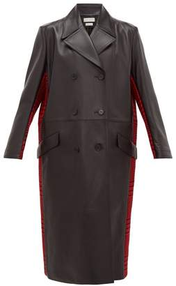 Alexander McQueen Double-breasted Checked Wool And Leather Coat - Womens - Black Red