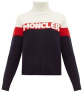 Moncler Logo-jacquard Striped Wool-blend Sweater - Womens - Cream Multi