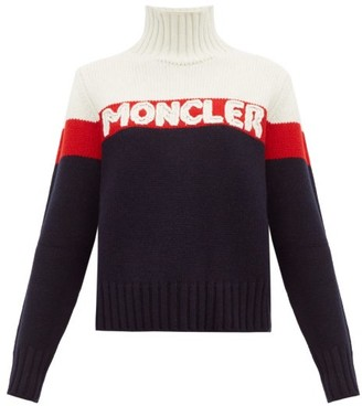 Moncler Logo-jacquard Striped Wool-blend Sweater - Womens - Cream Multi