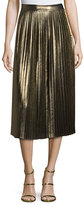 Elizabeth and James Lucy Pleated Lamé; Midi Skirt, Gold