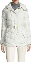 Cole Haan Hooded Down Belted Jacket