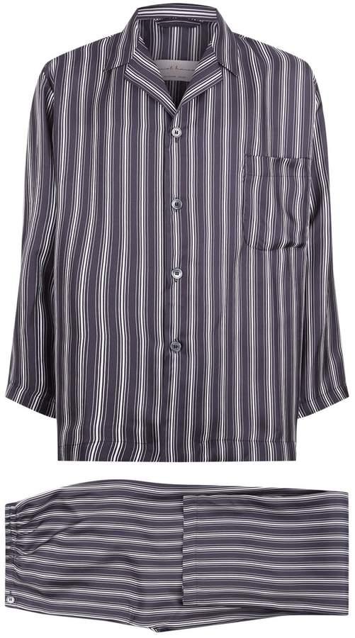 Daniel Hanson Striped Silk Pyjamas