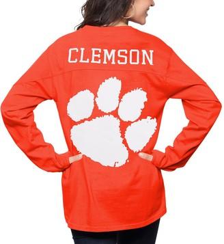 Women's Pressbox Orange Clemson Tigers The Big Shirt Oversized Long Sleeve T-Shirt