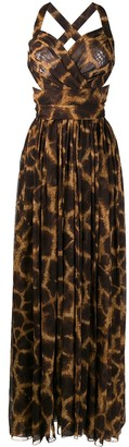 Dolce & Gabbana Giraffe Print Pleated Long Dress