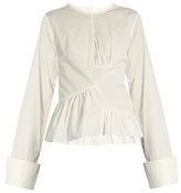 Marques Almeida MARQUES'ALMEIDA Asymmetric ruched-panel long-sleeved cotton shirt