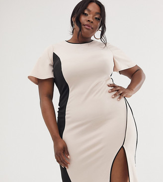 ASOS DESIGN Curve illusion panelled midi dress