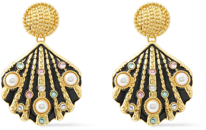 Kenneth Jay Lane Gold-tone Crystal, Enamel And Faux Pearl Earrings