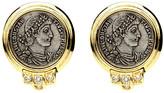Ben-Amun Roman Coin Crystal Button Earrings
