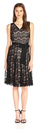 Nanette Lepore Nanette Women's Ramona Lace Fit and Flair Gored Skirt Dress