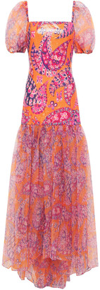 STAUD Printed Sequined Organza Maxi Dress