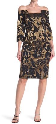 Trina Turk Sumire Off-the-Shoulder Jacquard Sheath Dress