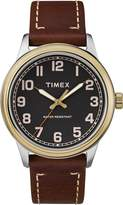 Timex Men's TW2R22900 New England Brown/Gold Leather Strap Watch