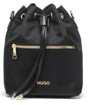 HUGO Small nylon-gabardine bucket bag with polished hardware