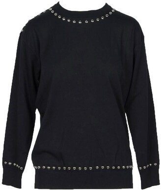 Moschino Solid Black Cotton Women's Sweater w/Black Pearls