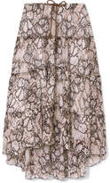 See by Chloe Printed Cotton And Silk-blend Crepon Midi Skirt - Light brown