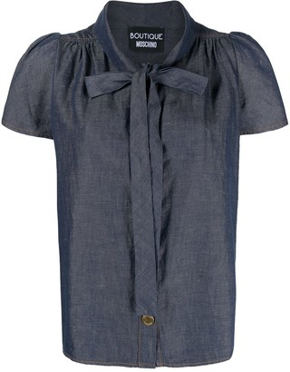 Boutique Moschino Pussybow Chambray Blouse
