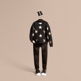 Burberry Star Print Textured Check Cashmere Sweater