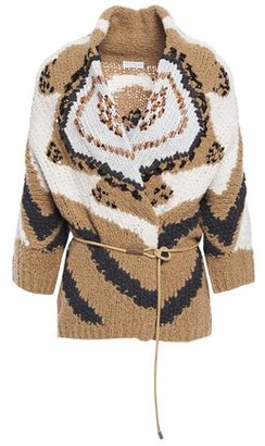Brunello Cucinelli Belted Embellished Metallic Intarsia Wool-blend Cardigan