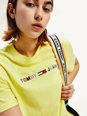 Tommy Hilfiger Colour-Blocked Logo Cropped Fit T-Shirt