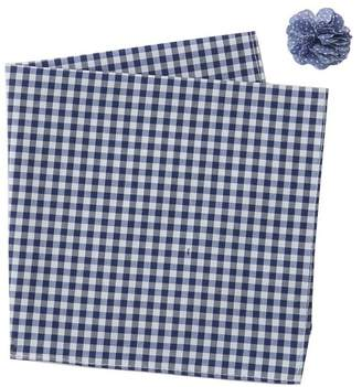 Original Penguin Check Pocket Square & Lapel Pin Set