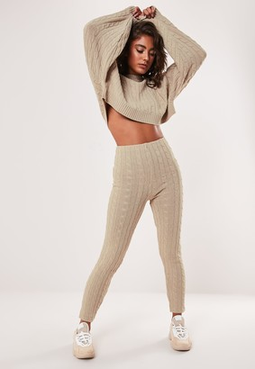 Missguided Petite Stone Co Ord Cable Knitted Leggings