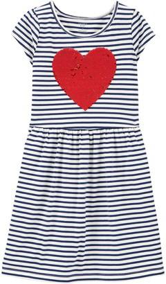 Carter's Girls 4-14 Flip Sequin Heart Striped Jersey Dress