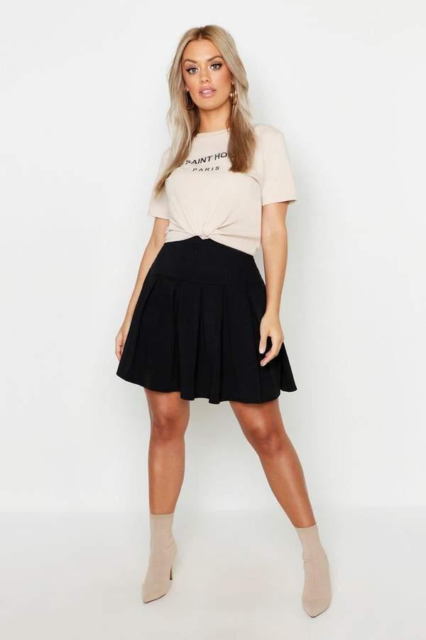 boohoo Plus Tennis Style Pleated Skater Skirt
