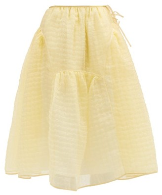 Cecilie Bahnsen Malika Tie-side Silk-blend Organza Midi Skirt - Yellow