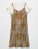 Full Tilt Leopard Girls 2Fer Tee Dress